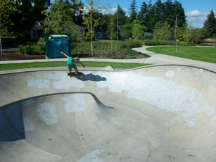 Skating a bowl in the northwest